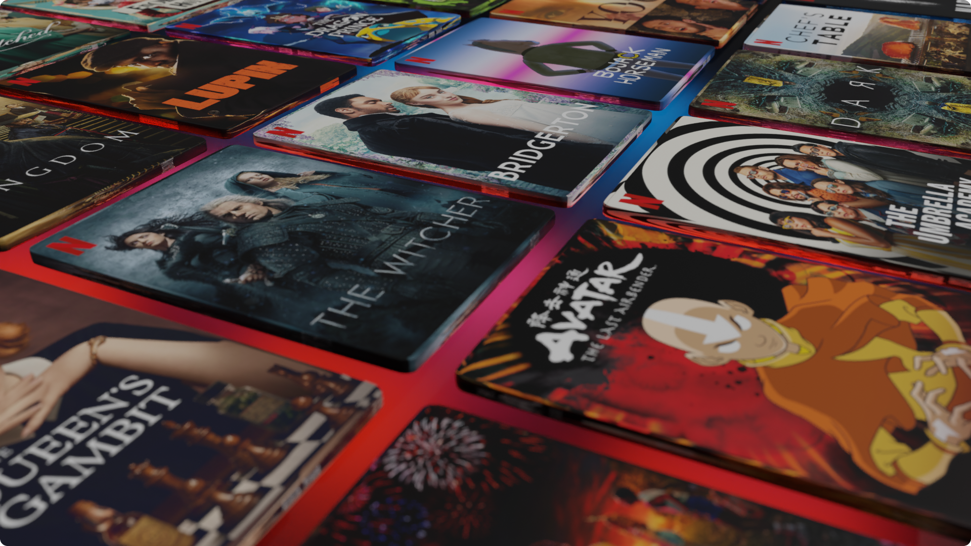Fileiras de imagens anguladas mostrando várias séries e filmes da Netflix