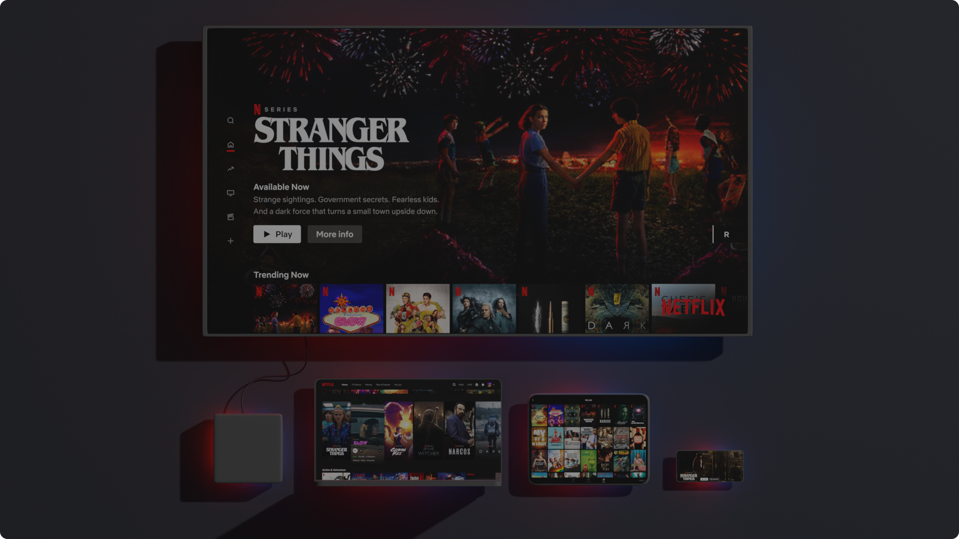 Alguns aparelhos compatíveis com a Netflix mostrados de cima para baixo